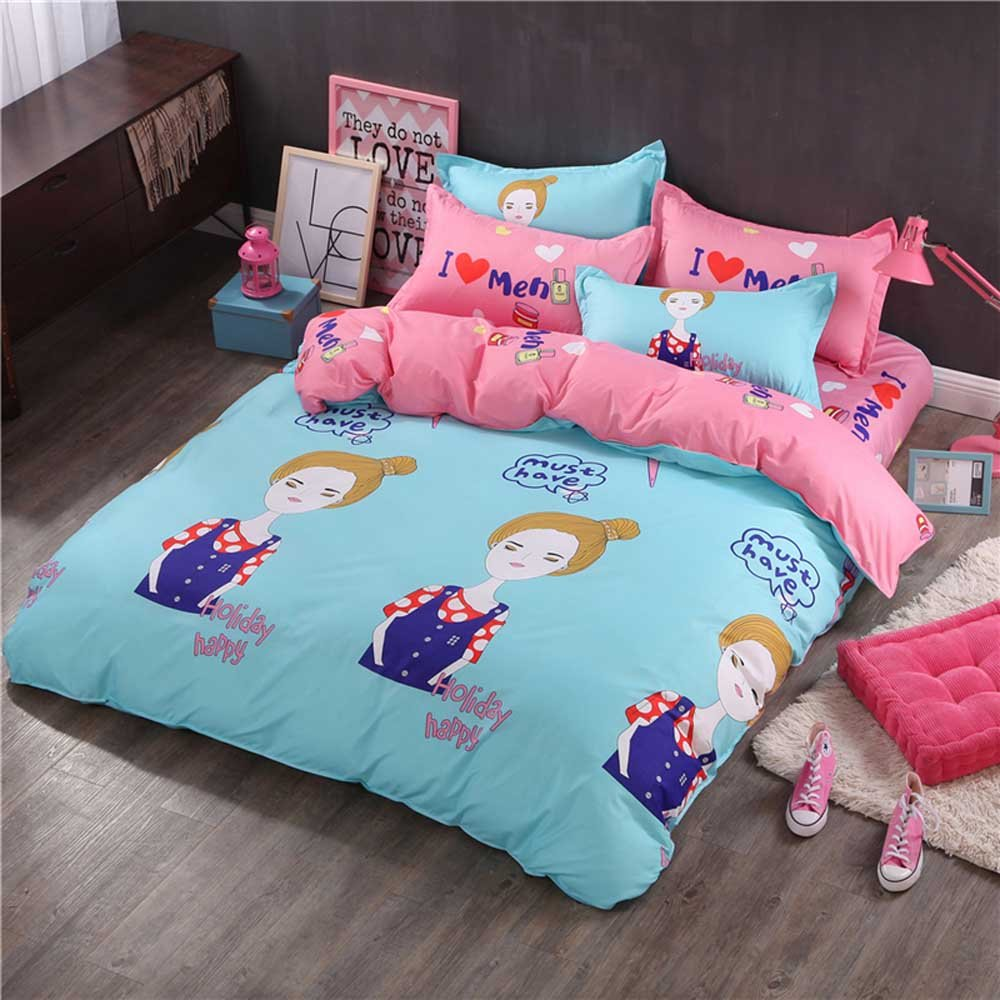 GladsBuy Girl Letter Duvet Cover Pillowcase Flat Sheet 4pcs Sheet Set Queen Soft Comfortable Durable Print Bedding Set DBL034 DBL034/_QUEEN
