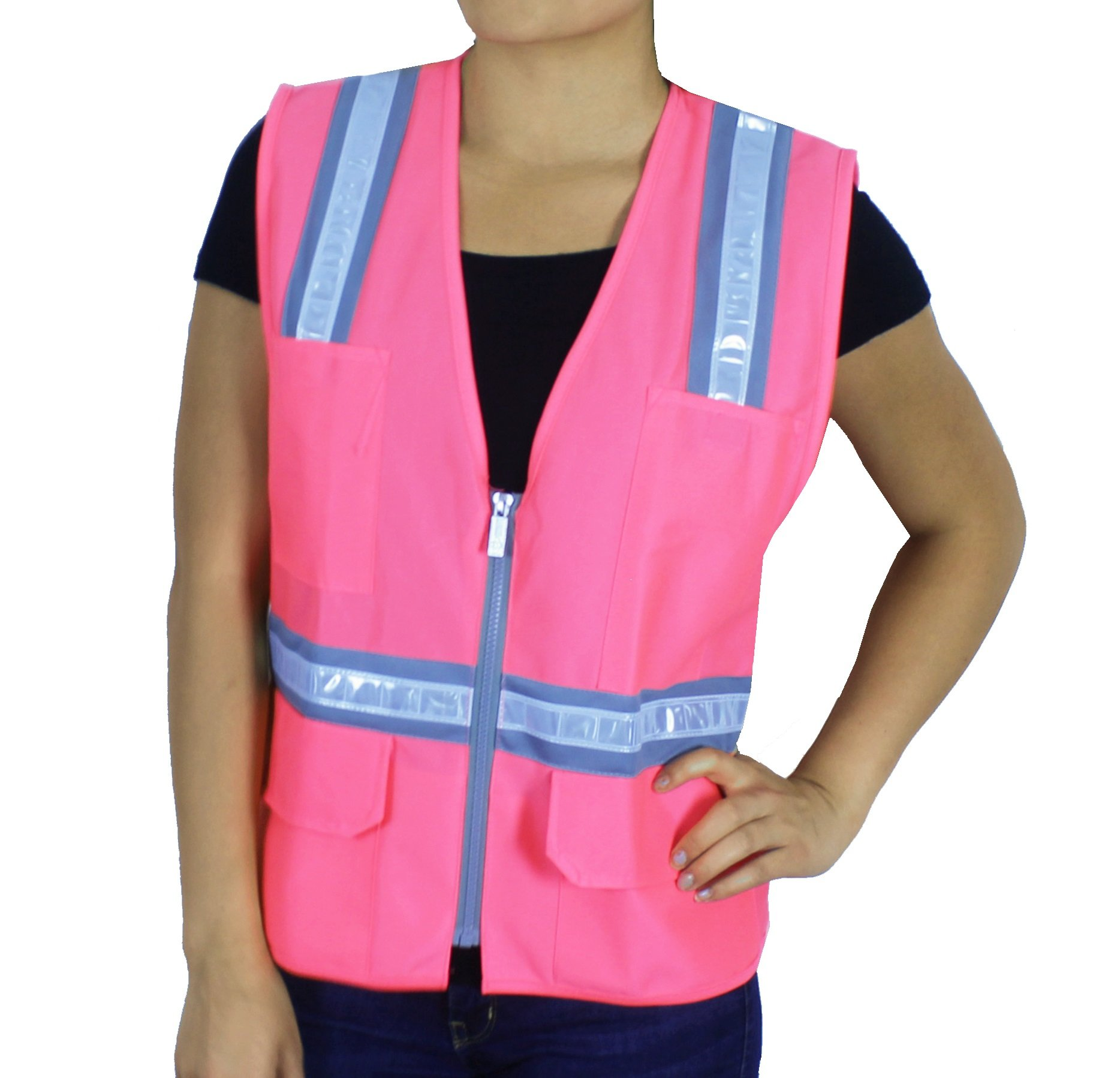 Safety Depot Safety Vest High Visibility Reflective Tape with 4 Lower Pockets, 2 Chest Pockets with Pen Dividers 8038-PK (Pink, Medium)
