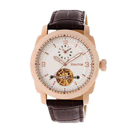 Heritor Helmsley semi-skeleton Dial leather-band reloj, oro rosa/blanco,