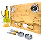 Bamboo Cheese Board Set, Charcuterie Food Serving Tray - BONUS Stainless Steel KNIVES & BOWLS, Extra LARGE [16x11x1] Wooden C