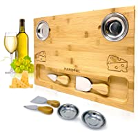 Bamboo Cheese Board Set, Charcuterie Food Serving Tray - BONUS Stainless Steel KNIVES & BOWLS, Extra LARGE [16x11x1…