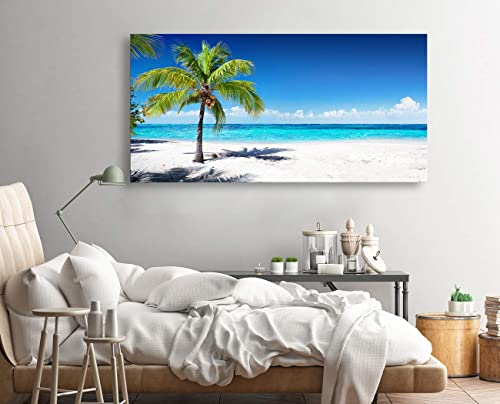 Large Canvas Wall Art Summer Ocean Waves Coconut Trees on Sands Beach Seascape Painting Sea Nature Picture