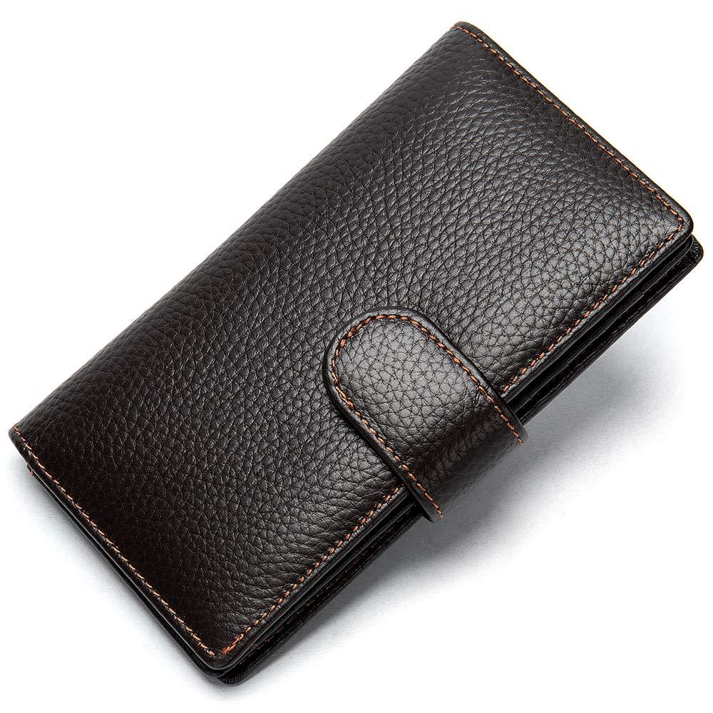 Mens Genuine Leather Bifold Wallet Organizer Checkbook Card Case