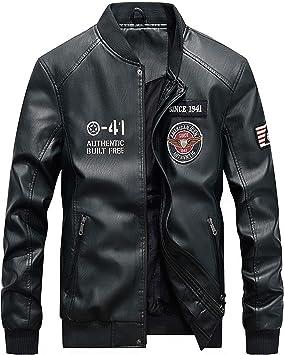 メンズコート・ジャケット-メンズレザージャケットバイクジャケットとベルベットで保温