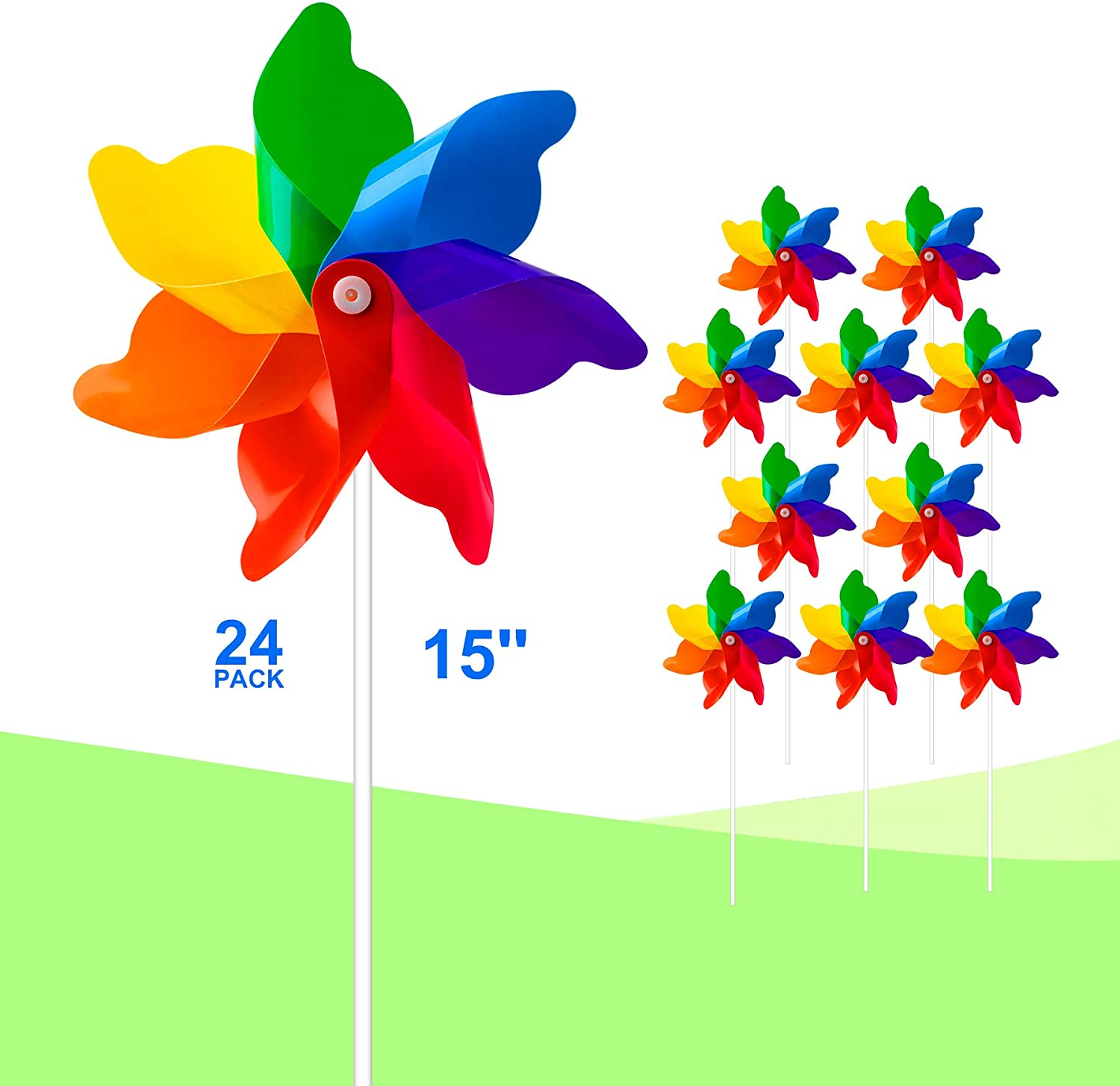 Tsocent 7 Colors Mixed Pinwheels (Pack of 24) - Party Favors Plastic Toy Pinwheels Educational Wind Spinners 24 Pcs Gifts for Kids - Outdoor Decorational Pinwheels Windmill for Yard and Garden