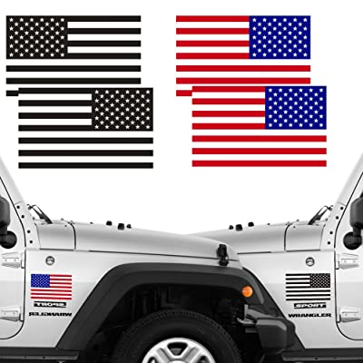 """Reflective Full Color & Subdued American Flag Stickers 2 Pairs Bundle 3"""" X 5"""" Tactical Military Flag Reverse USA Decal for Jeep, Ford, Chevy or Hard Hat, Car Vinyl Window Bumper Decal Sticker: Automotive"""