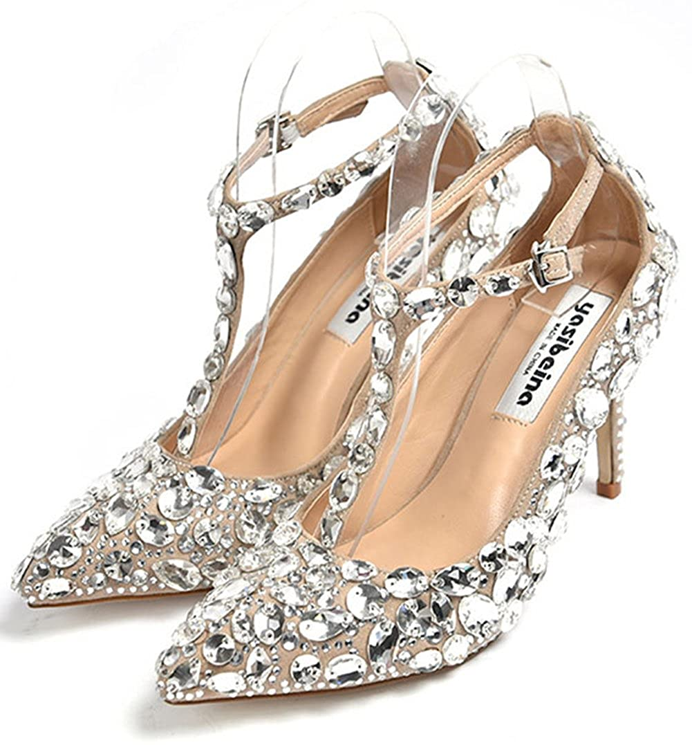 Nude(t-strap) Naly Women's Cinderella Princess Crystal Pumps Rhinestones The Glass Slipper High Heel Wedding shoes