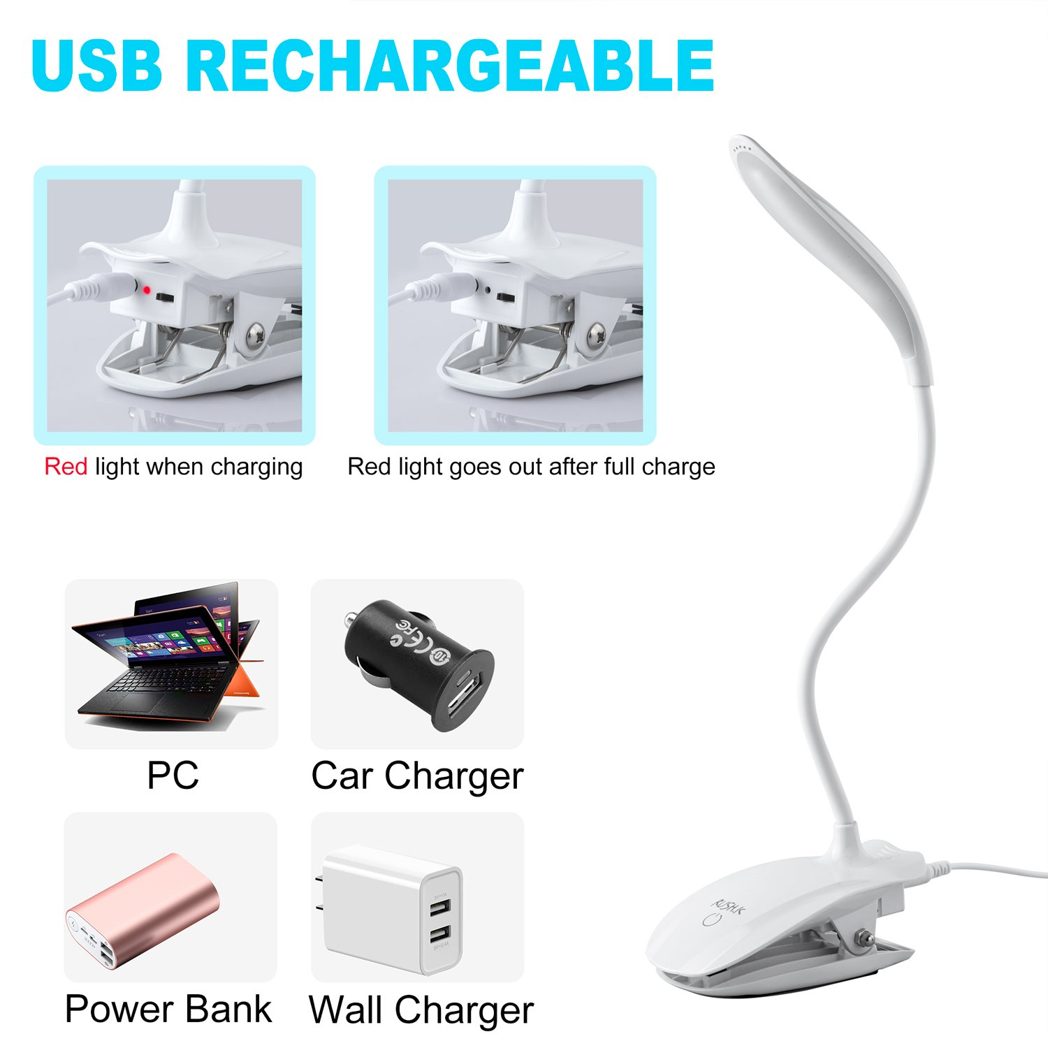 16 LED Rechargeable Reading Book lamp for Bookworms /& Kids /& Students Clip Lamp with 3-Level Dimmer//Touch Switch for Desk,Table,Bed,Headboard,Piano,Computer LED Clip on Light