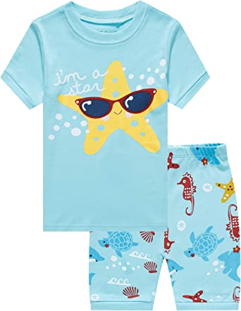 Little Kids Sleep T Shirt /& Shorts 2Pcs PJ Set FORESTIME Toddler Boys Girls Pajamas Short Set Baby Summer Cool Sleepwear
