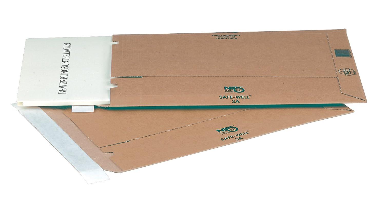 NIPS 142583114 SAFE-WELL 3A - Buste in cartone ondulato con chiusura adesiva, 25 x 35,3 cm, 10 pezzi, colore marrone NIPS Ordnungssysteme GmbH