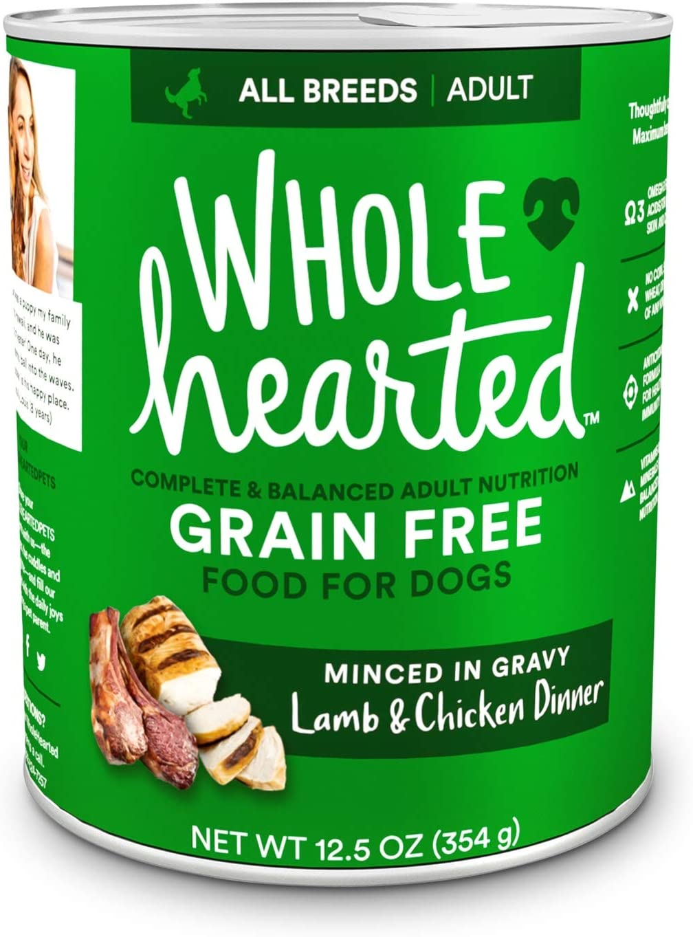 WholeHearted Grain-Free Adult Lamb and Chicken Dinner Wet Dog Food, 12.5 oz., Case of 8, 8 X 12.5 OZ