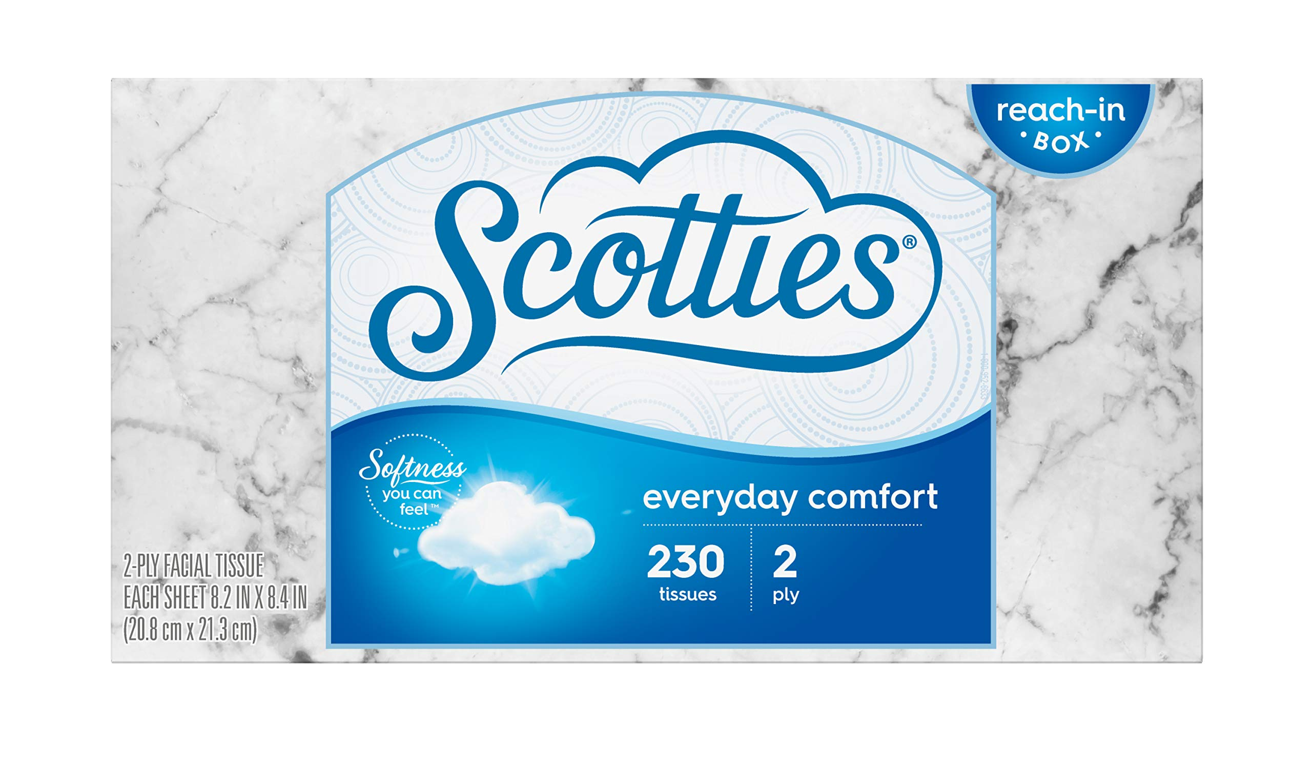 Scotties Everyday Comfort Facial Tissues, 230 Tissues per Box (Pack of 24)