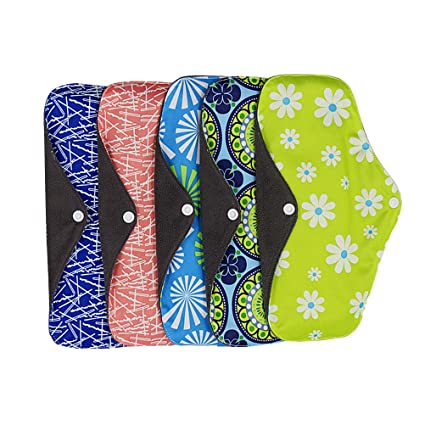 ROSENICE 5 piezas Almohadillas de Tela Reutilizables Almohadillas menstruales de bambú transpirables plegables portátiles del paño
