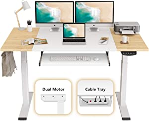 FEZIBO Dual Motor Height Adjustable Electric Standing Desk, 63 x 24 Inches Full Sit Stand Home Office Table with Splice Board, White Frame/Natural and White Top