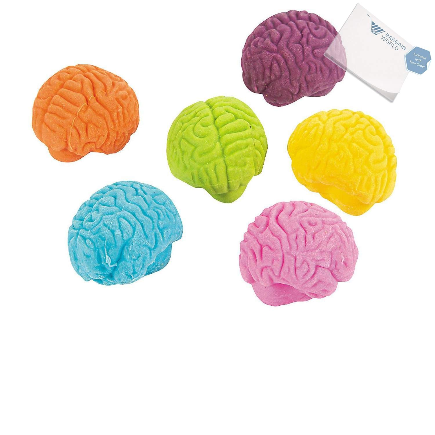 Rubber Brain-Shaped Erasers (With Sticky Notes)