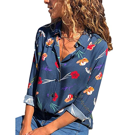Camisetas para Mujer Blusa,BBestseller Pullover Camiseta Otoño Manga Larga Mujeres con Cuello en V Estampado Floral amisetas Casual Blusas Pullover ...
