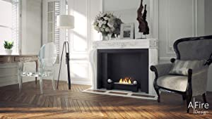 aFire ADD Smart Ethanol Fireplace Insert with Remote (Large, White with Black Ball)