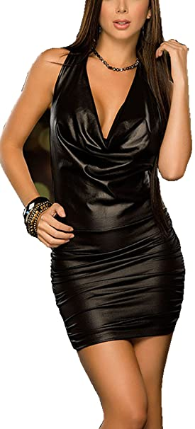 969ec4583b3 Rozegaga Womens Sexy Cowl Neck Strappy Back Wet Look Mini Party Club Dress  Black at Amazon Women s Clothing store