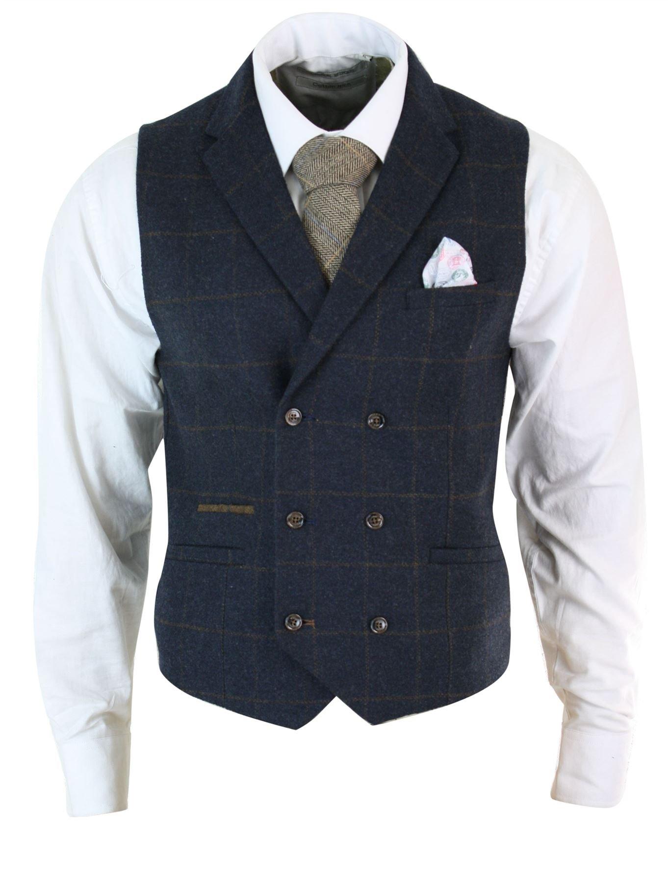 Mens Double Breasted Herringbone Tweed Peaky Blinders Vintage Check Waistcoat Navy-Blue by Cavani