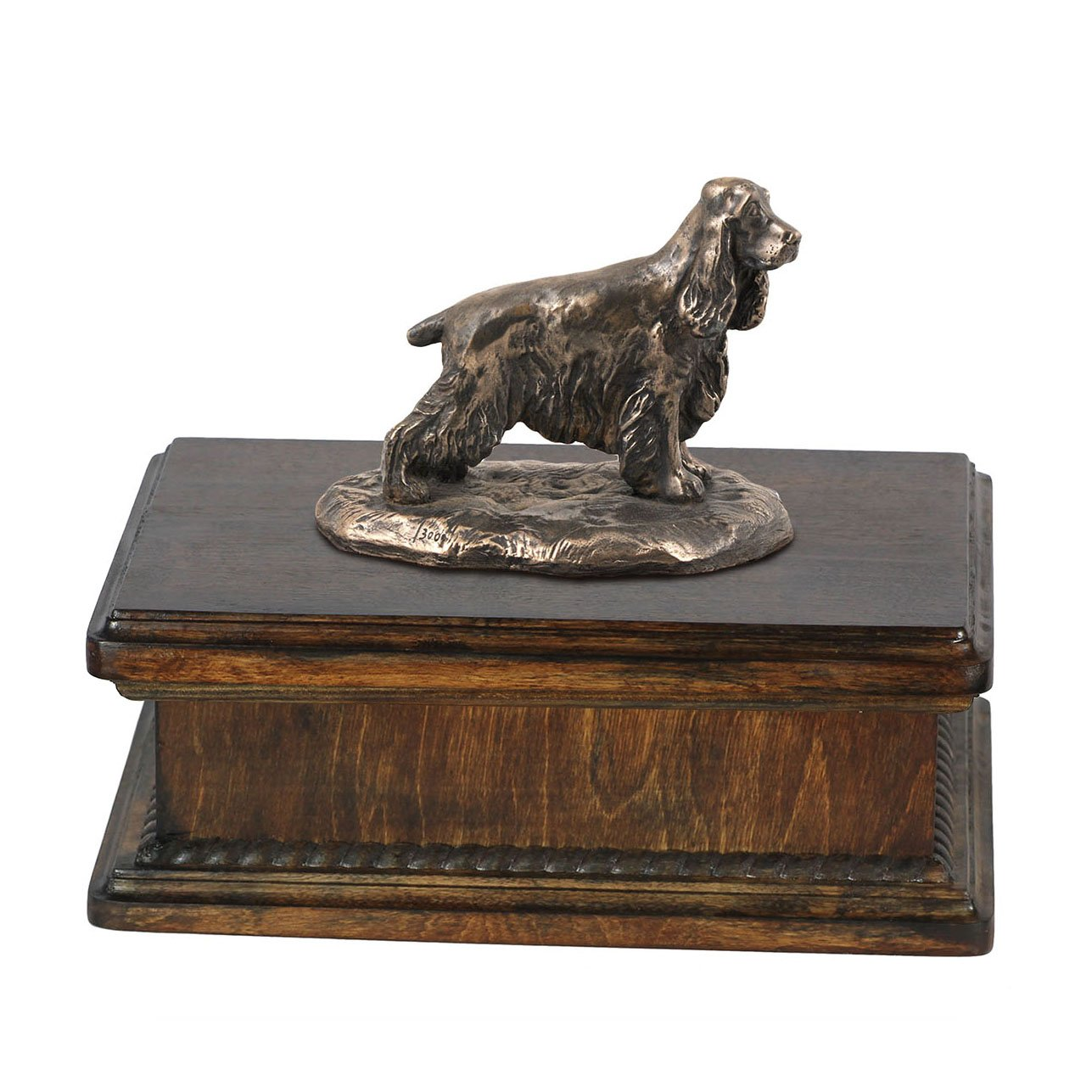 English Cocker Spaniel, memorial, urn for dog's ashes, with dog statue, exclusive, ArtDog