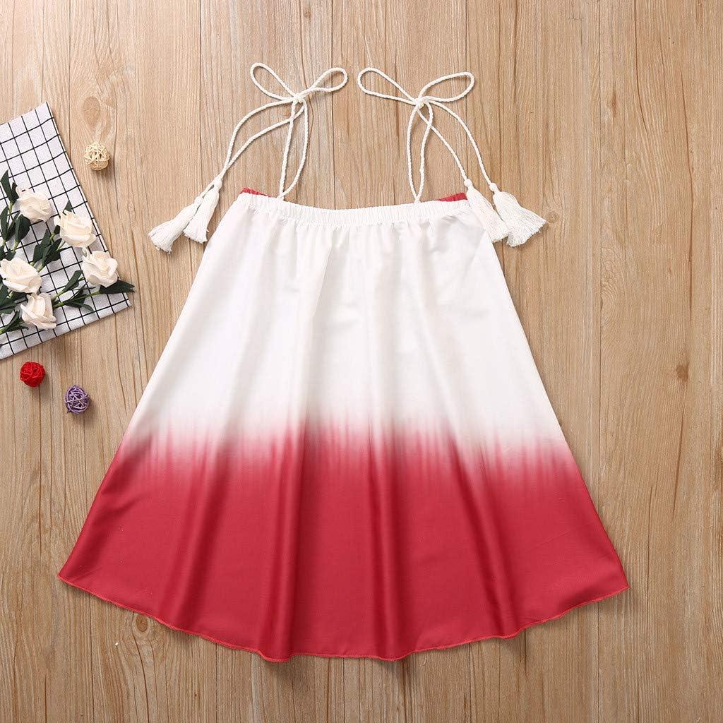 Toddler Baby Girls Gradient Color Sleeveless Splice Dress Clothes Beach Tassel Sundress Dress