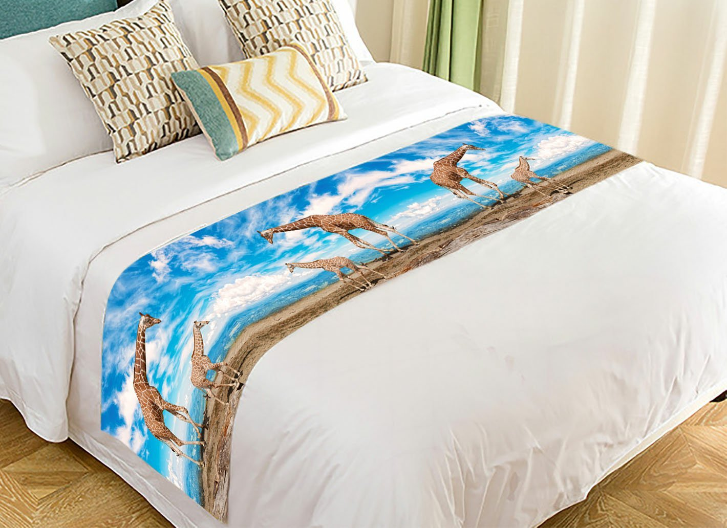 PicaqiuXzzz Custom Beautiful Blue Sky Cloud Bed Runner, African Animal Giraffe along the River Bed Runners And Scarves Bed Decoration 20x95 inch