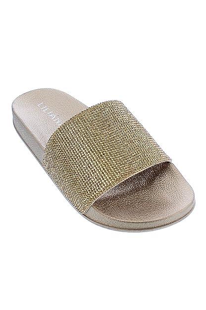110ad0c6e880 GENx Womens Glitter Rhinestone Slide Sandal Shoes Slipper Blitz-1 (5.5