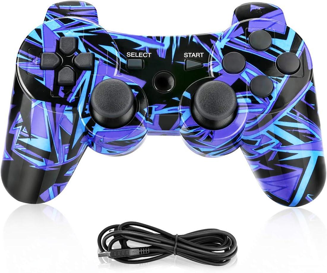 Powcan Mando Inalámbrico PS3, Bluetooth PS3 Gamepad Controller Doble vibración Mando a Distancia Joystick para Playstation 3 y PC Windows 7/8/9/10 con Cable de Carga USB (Azul)