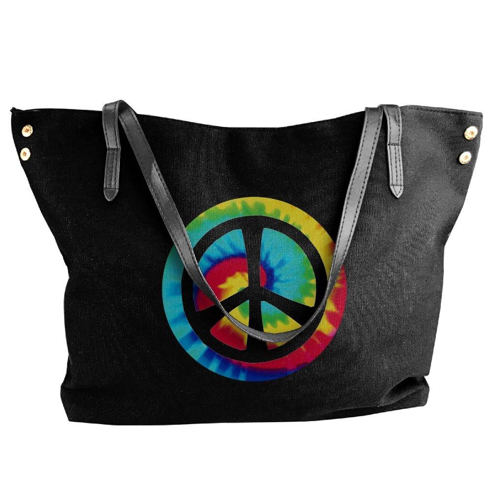 Cotyou-6 Women's Canvas Large Tote Shoulder Handbag Tie Dye Peace Sign Messenger Hobo Bag Tote