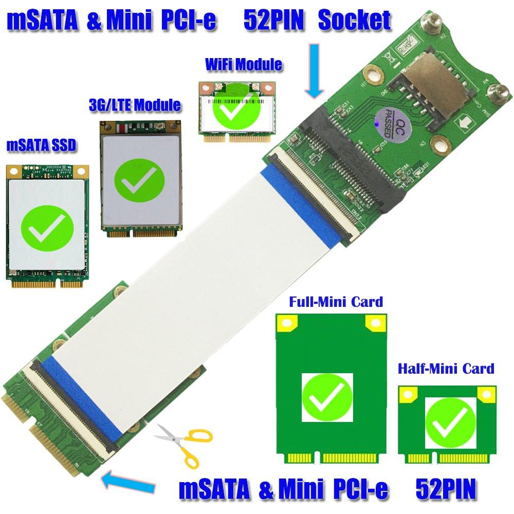Mini PCI-E x mSATA Flexible Extender cable With SIM card Slot by HLT (Image #3)