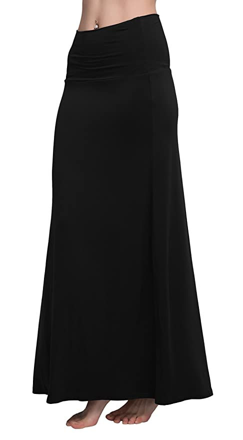 LIGHTENING DEAL! TOP RATED SPANDEX COMFY FOLD OVER FLARE LONG MAXI SKIRT! (MORE COLORS)