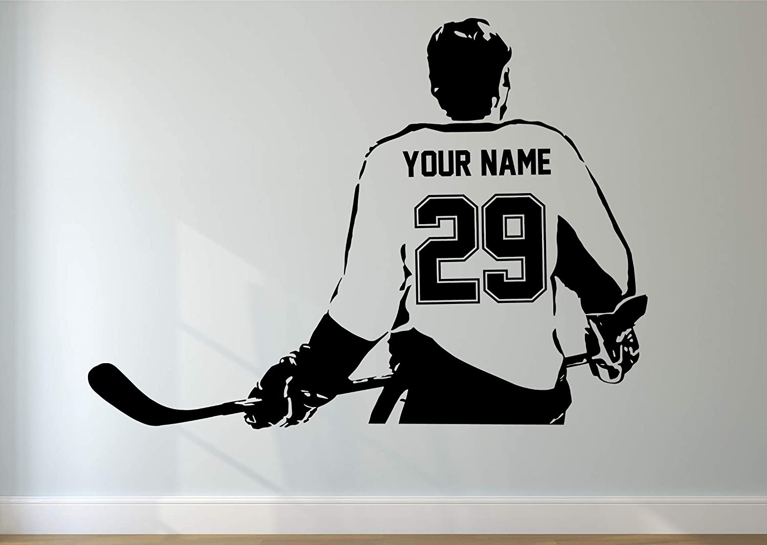 Hockey Player Decal Custom NAME and NUMBERS Personalized Custom Hockey Wall Decal Goalie Decal Player Vinyl Sticker Kids Bedroom