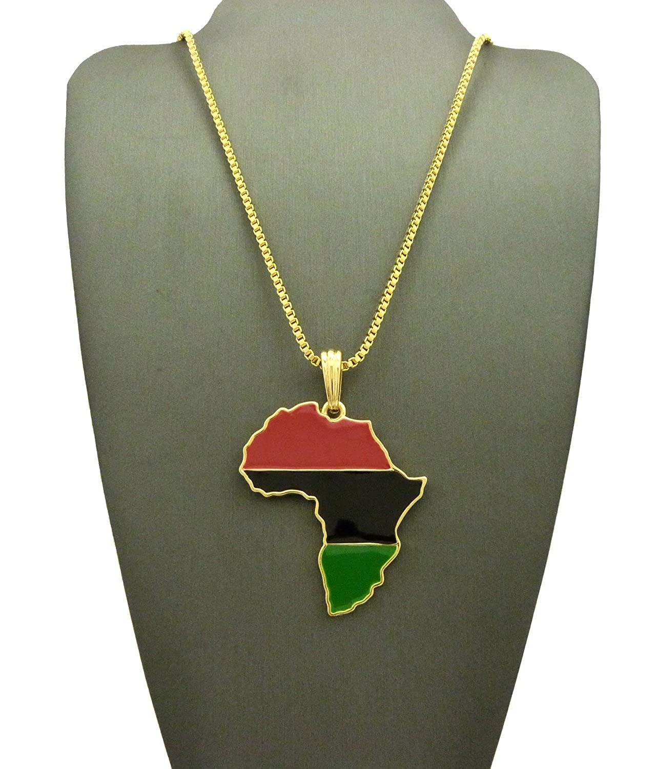 Bundle offer 18k gold plated amp white gold plated necklace 2 ring - Amazon Com Pan African Colored Africa Map Pendant 24 Various Chain Necklace In Gold Tone 2mm 24 Box Chain Jewelry