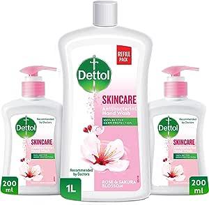 Dettol Skincare Liquid Hand Wash Refill Pack - Twin Pack 200ml + 1L Liquid Hand Wash