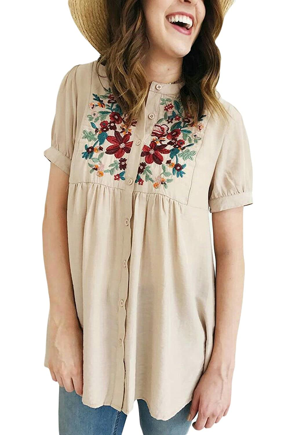 74ff1eb398 The floral embroidered design is charming and loved by ladies. Gathered  empire waist and cuffed sleeves, button up closure front