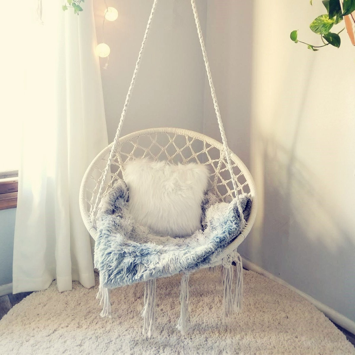CCTRO Hammock Chair Macrame Swing, Macrame Hammock Chair Swing for Indoor/Outdoor Home Patio Porch Yard Garden Deck, 265 Pound Capacity