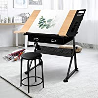 Drawing Table Stool Set Artiss Ajustable Metal Base Art & Craft Drafting Desk Table Art/Workstation with Removable Side…