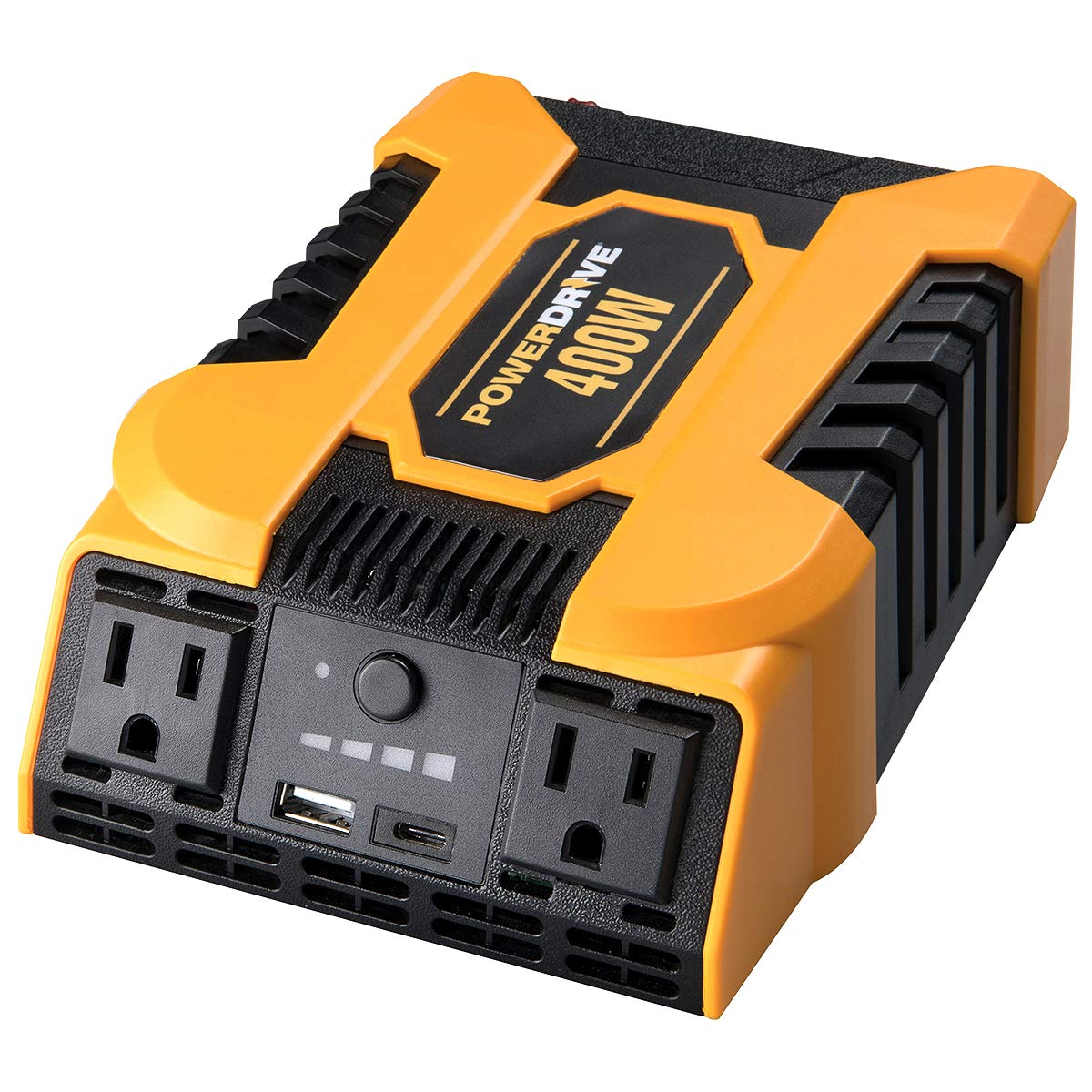 POWERDRIVE Improved & Updated 400W Power Inverter with 2 AC outlets and Dual Ports, USB 2.4A and USB-C 3.0A by POWERDRIVE