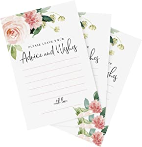Bliss Collections Advice and Wishes Cards, Boho Floral Blush Pink and Greenery Design, Perfect for the Bride and Groom, Baby Shower, Bridal Shower, Graduate or Event! Pack of 50 4x6 Cards
