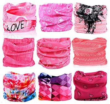 KALILY 9PCS Headband Bandana - Versatile Sports   Casual Headwear -Multifunctional  Seamless Neck Gaiter 73de919495df