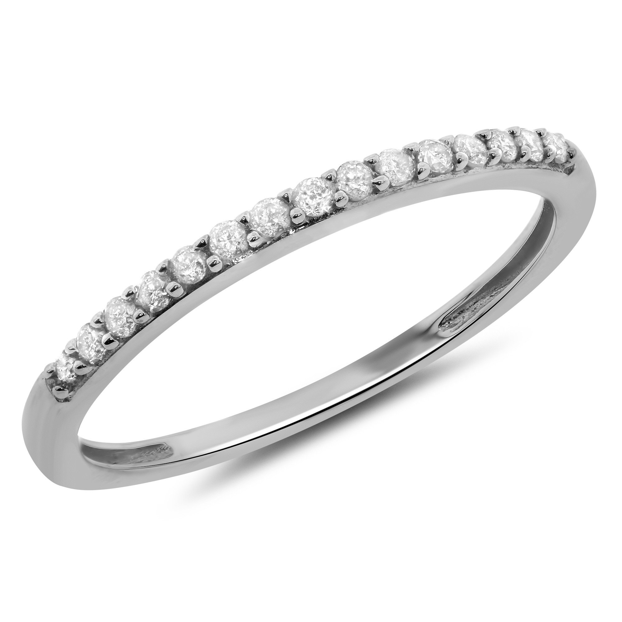 0.15 Carat (ctw) 14k Gold Round Diamond Petite Prong Set Wedding Band Anniversary Ring Stackable 1/7 CT - White-gold, Size 5.5