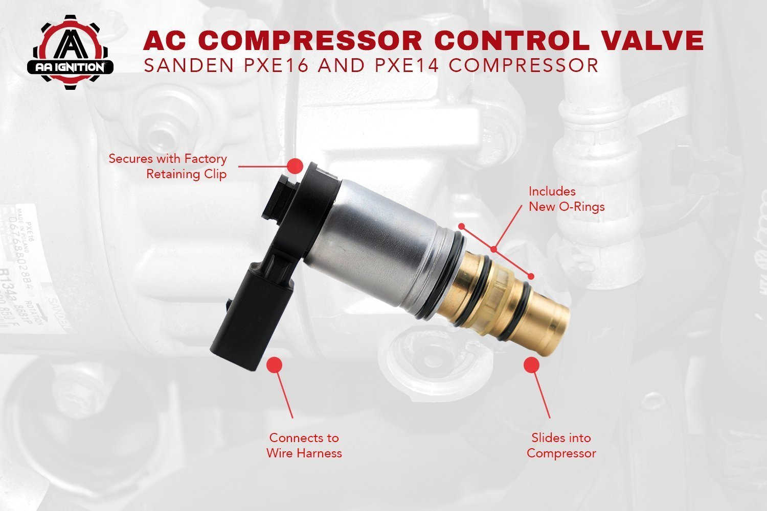 Ac Compressor Control Solenoid Valve Fits Volkswagen 1997 Rav4 A C Wiring Diagram Jetta Sanden Pxe16 Pxe14 1k0820803e Vw Gti Golf Passat Tiguan Tdi And More