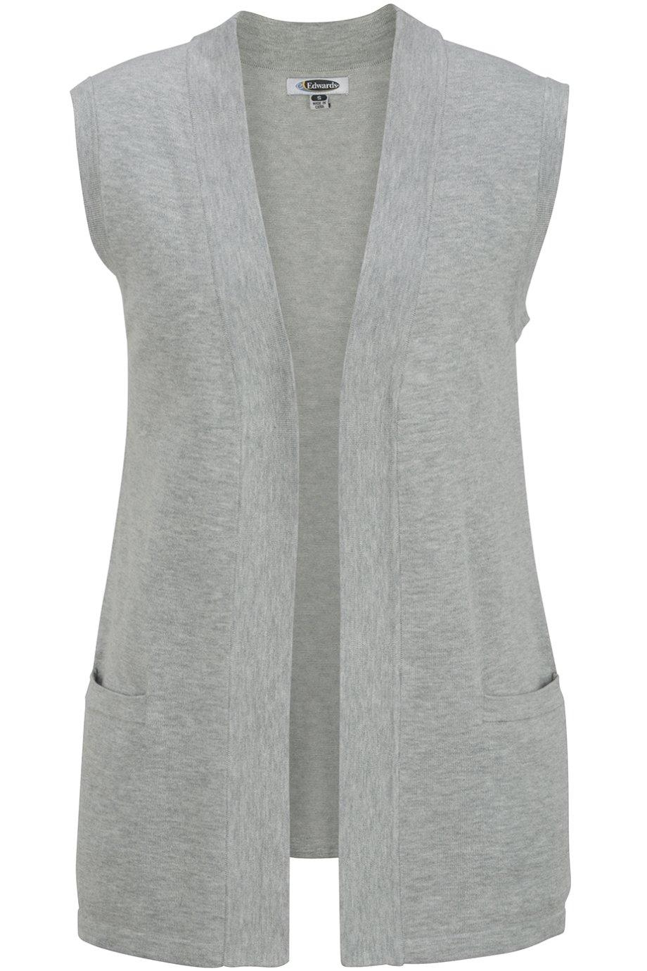 Edwards Women's Open Cardigan Sweater Vest, Grey Heather, X-Large