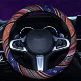 2016 Style Coarse Flax Cloth Automotive Steering Wheel Cover Anti Slip and Sweat Absorption Auto Car Wrap Cover A