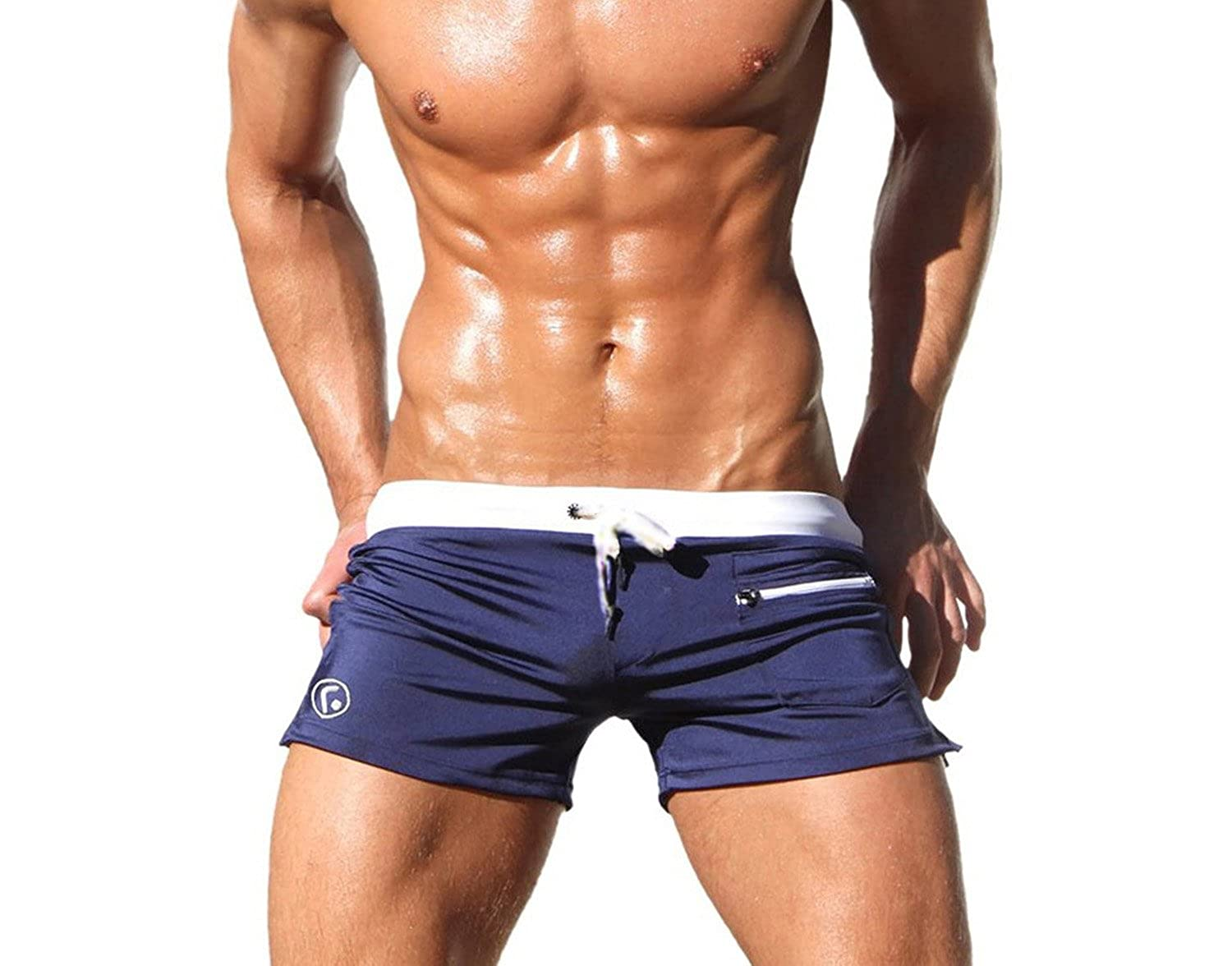 Long shorts have been popular for the last couple of decades, but shorter trunks (though not this short!) are coming back into style. Contemporary swimsuits can serve both decorative and practical functions; most strive for both.