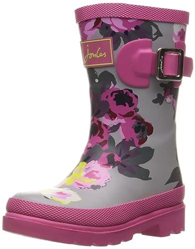 f41202da01d27 Joules Girls' JNRGIRLSWELLY Rain Boot, Grey Bloom, 11 M US Little Kid