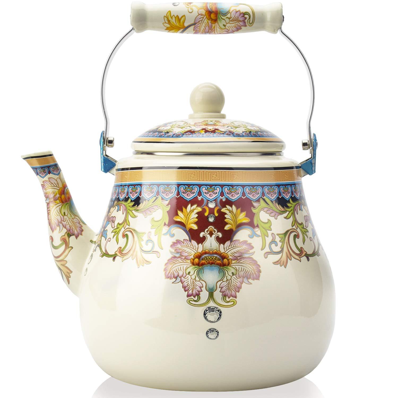 5 Quart Enamel on Steel Teapot,Large Porcelain Enameled Teakettle,Hot Water Tea Kettle,Halogen Induction Cooker Coffee Pot for Stovetop,Small Retro Classic Design