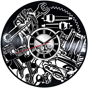 Mechanic Wall Clock Made of Vinyl Record - Stylish Clock and Amazing Gifts Idea – Unique Home Decor – Personalized Presents for Men Mechanics – Great Wall Art for Living Room Bedroom Garage