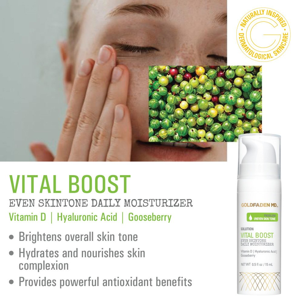 Vital Boost Skin Tone Evening Facial Moisturizer w Organic Red Tea Extract, Hyaluronic Acid, Jojoba Oil Gooseberry Helps to Brighten Even for a Radiant, Glowing Face NET WT .5 oz