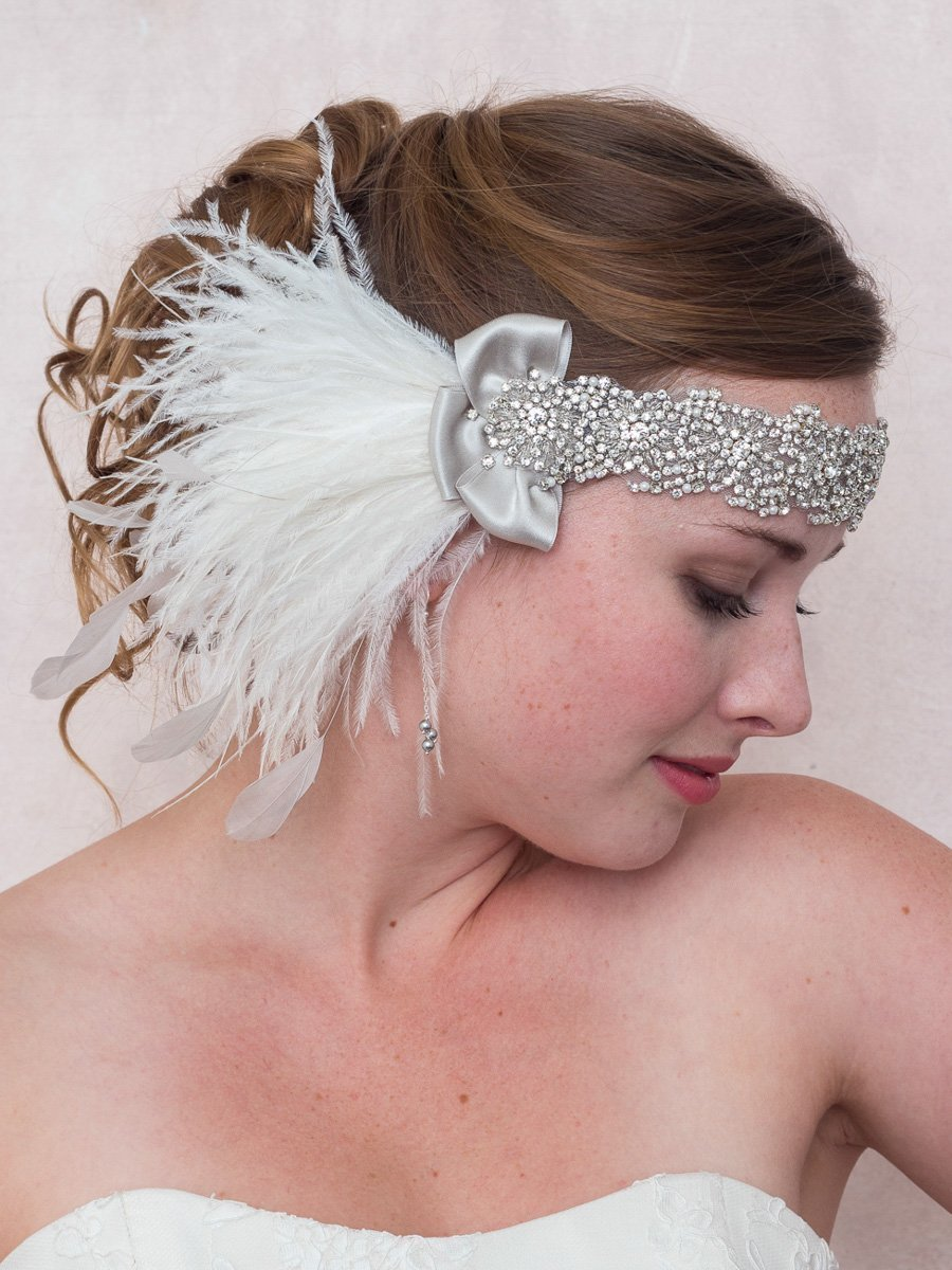 Diamonds And Ice Ostrich Feather Headband, Crystal Silver Rhinestone Gatsby Headband by Deanna DiBene Millinery